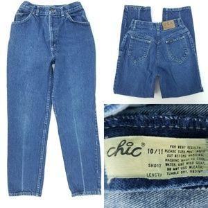 Vtg 80s Chic Jeans High Waist Taper 10/11 25x27